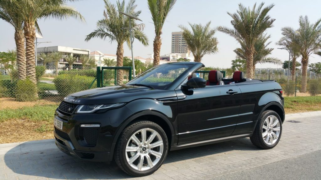 range rover evoque black with trees dubai
