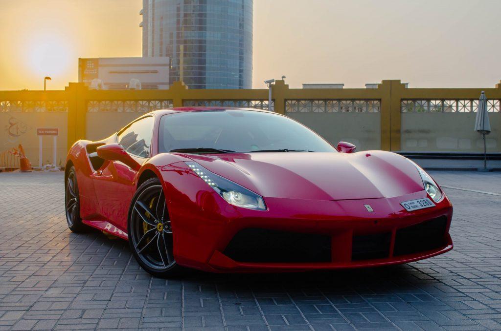 Ferrari 488 GTB Red Color in UAE Dubai for Rent