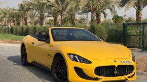 rent maseratti grancabrio yellow color Dubai
