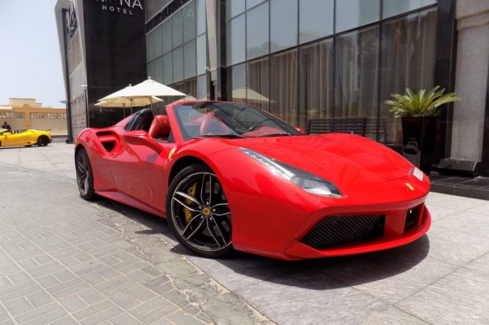 Ferrari 488 Spider Red color in dubai for Rent