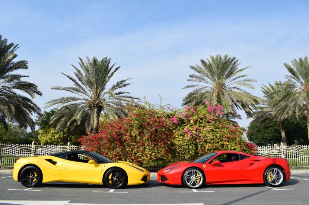 Ferrari 488 GTB Yellow and Red for Rent in Dubai UAE