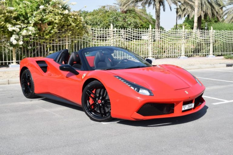 Ferrari 488 Spider - Red Rental Car in Dubai