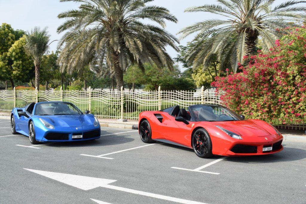 Ferrari 488 Spider Blue and Red - For Rent in Dubai - UAE
