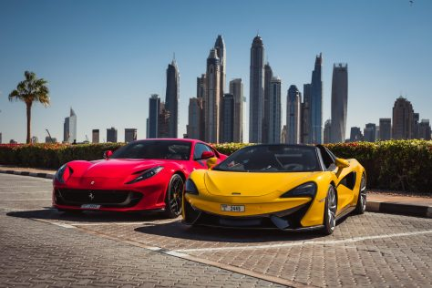 Ferrari Red - Mclaren Yellow - Rental Cars in Dubai UAE