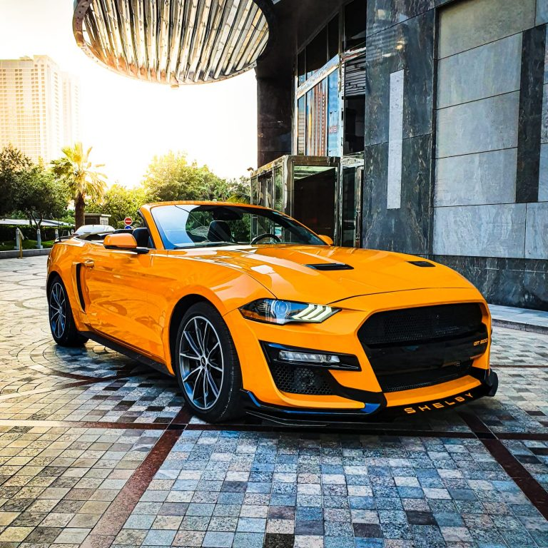 Ford Mustang V4 Yellow Rental Car Dubai UAE